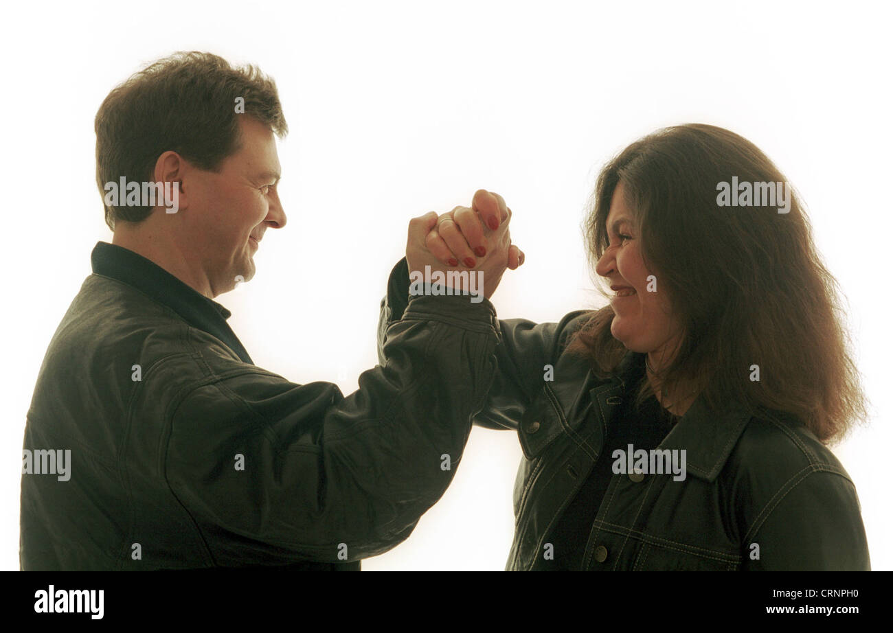 Woman and man in showdown - Stock Image