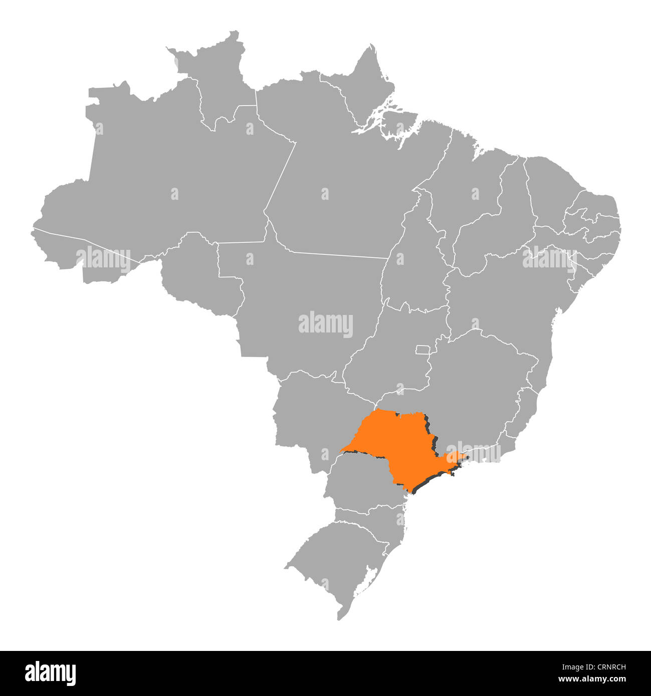 Political map of brazil with the several states where so paulo is political map of brazil with the several states where so paulo is highlighted gumiabroncs Gallery