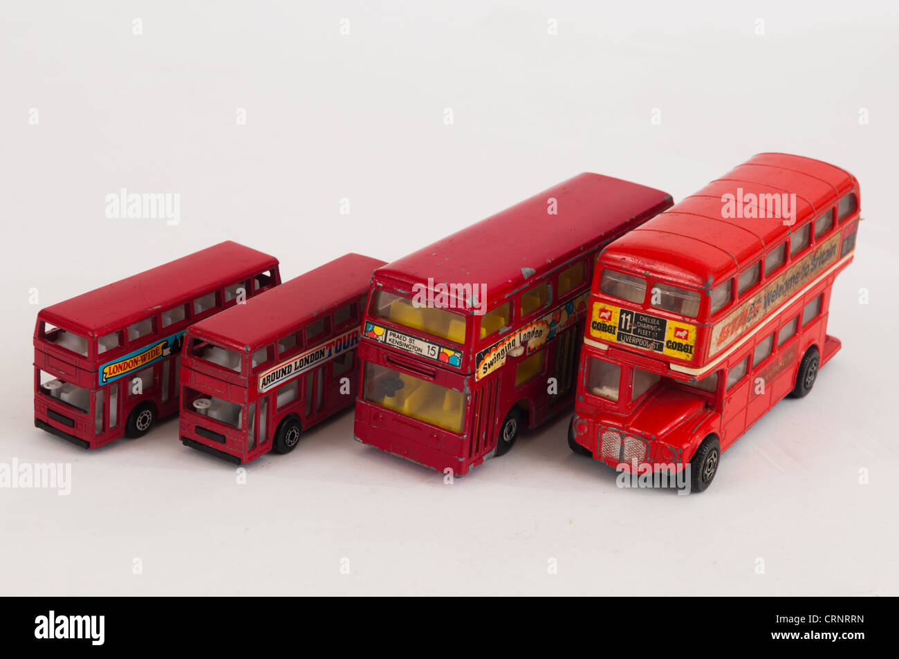 Collection of London toy diecast buses Stock Photo