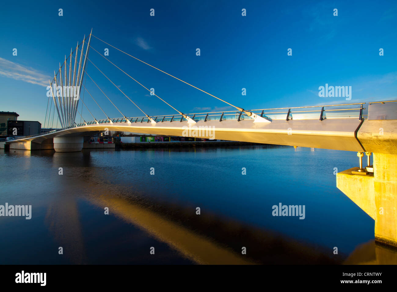 Swing Bridge located near MediaCity UK on Salford Quays near Old Trafford in Manchester. - Stock Image