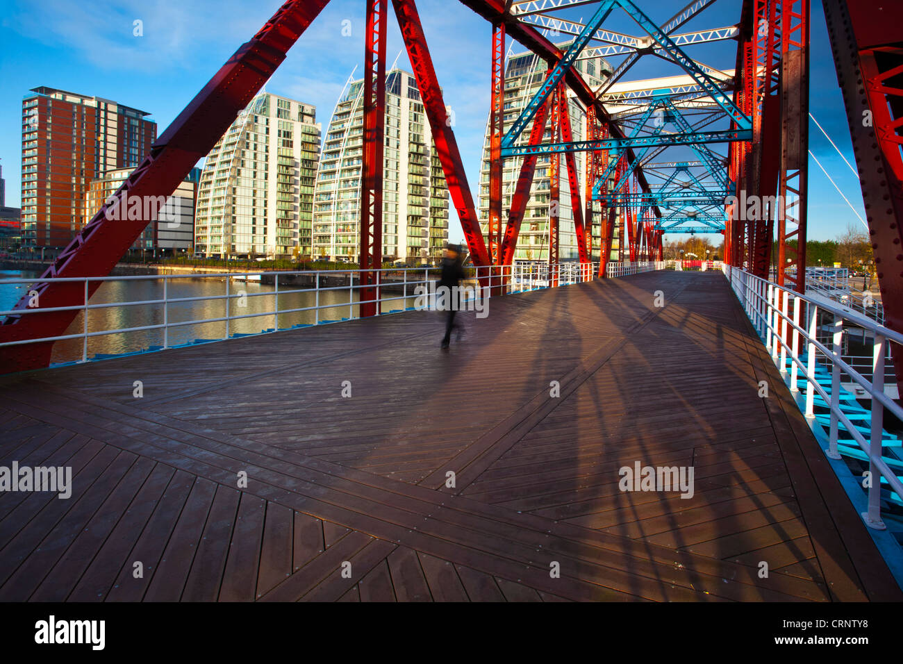 NV buildings and Detroit Bridge over the Manchester Ship Canal in Salford. - Stock Image