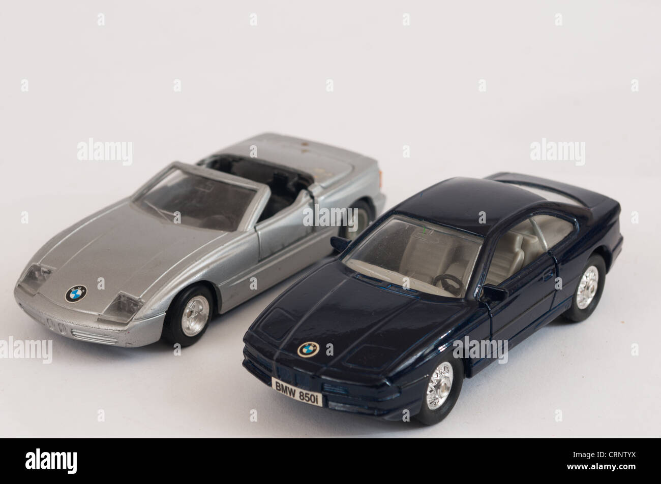 2 BMW windup toy cars - Stock Image
