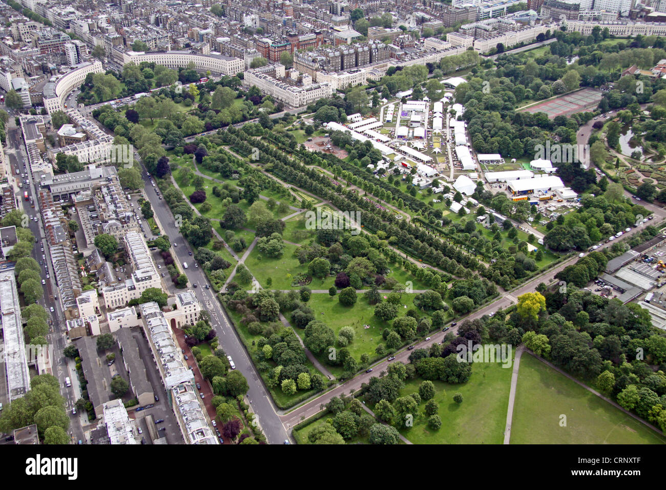 aerial view of Broad Walk and Park Square Gardens in Regent's Park, London NW1 - Stock Image