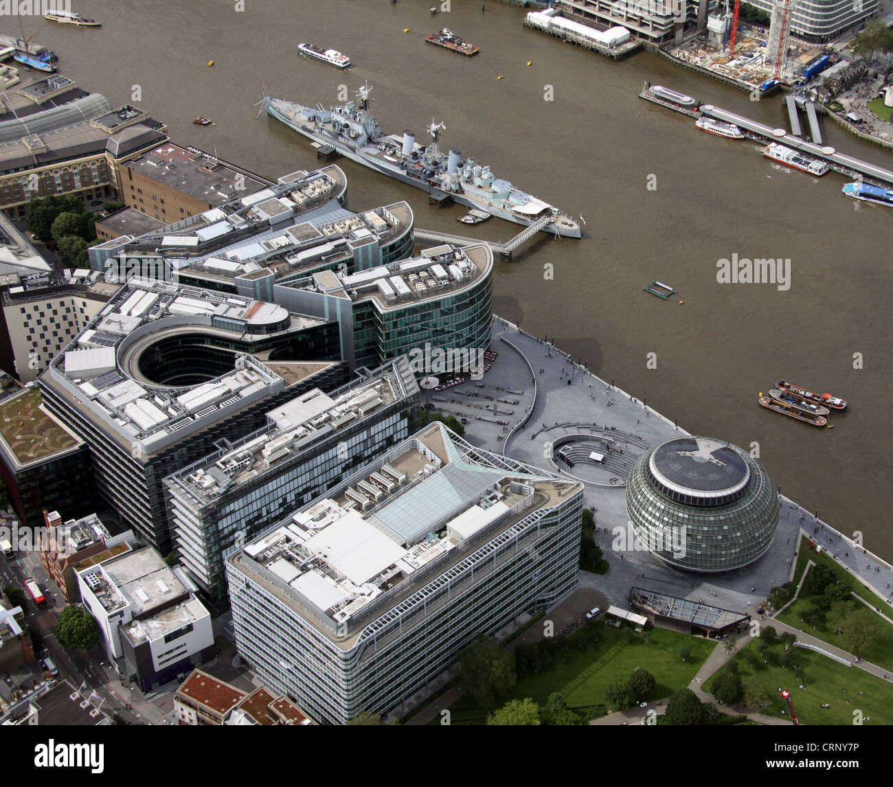 aerial view of HMS Belfast and London City Hall, London SE1 - Stock Image