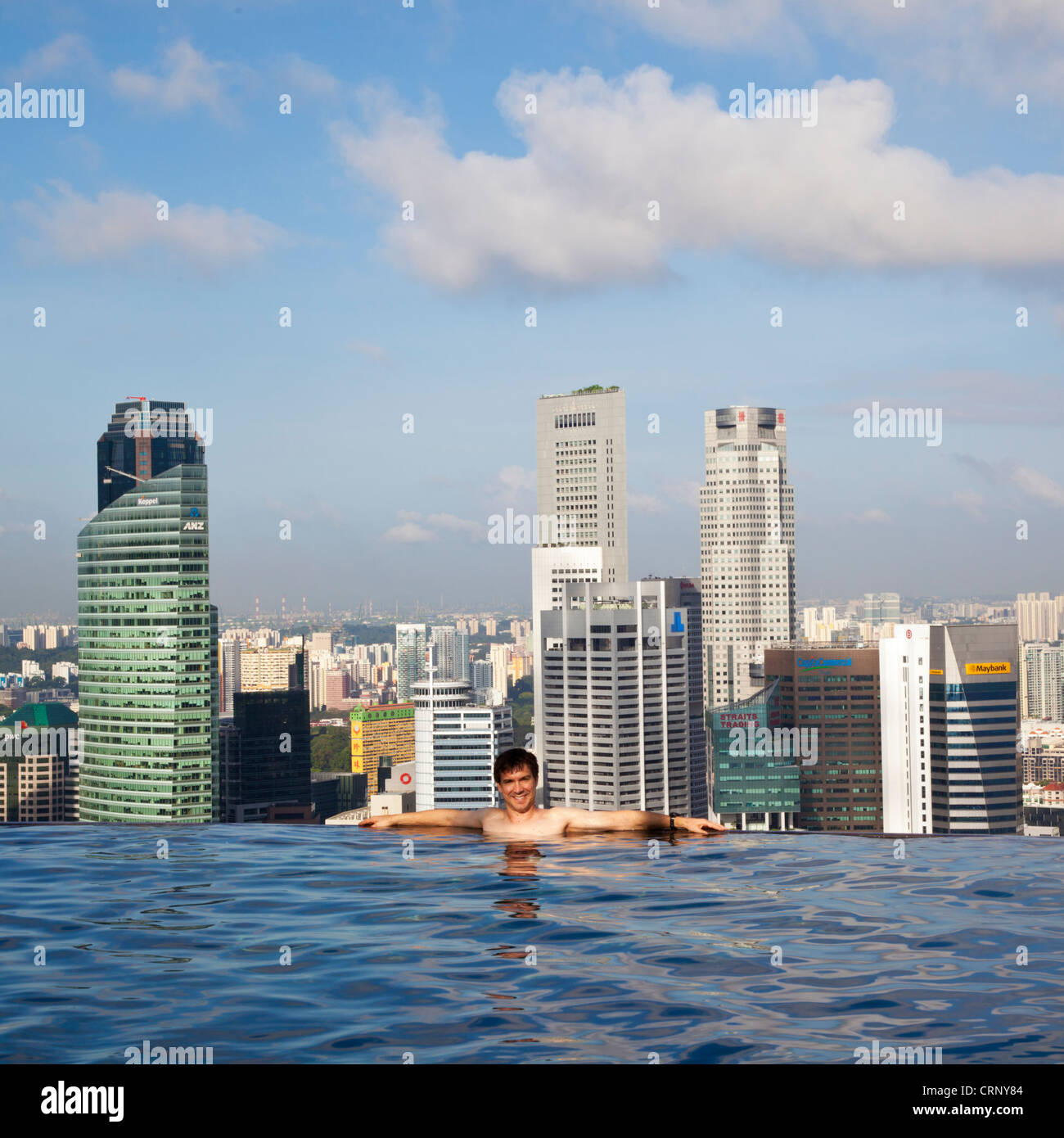 Sands SkyPark infinity swimming pool on the 57th floor of Marina Bay Sands Hotel, Marina Bay, Singapore, South East - Stock Image