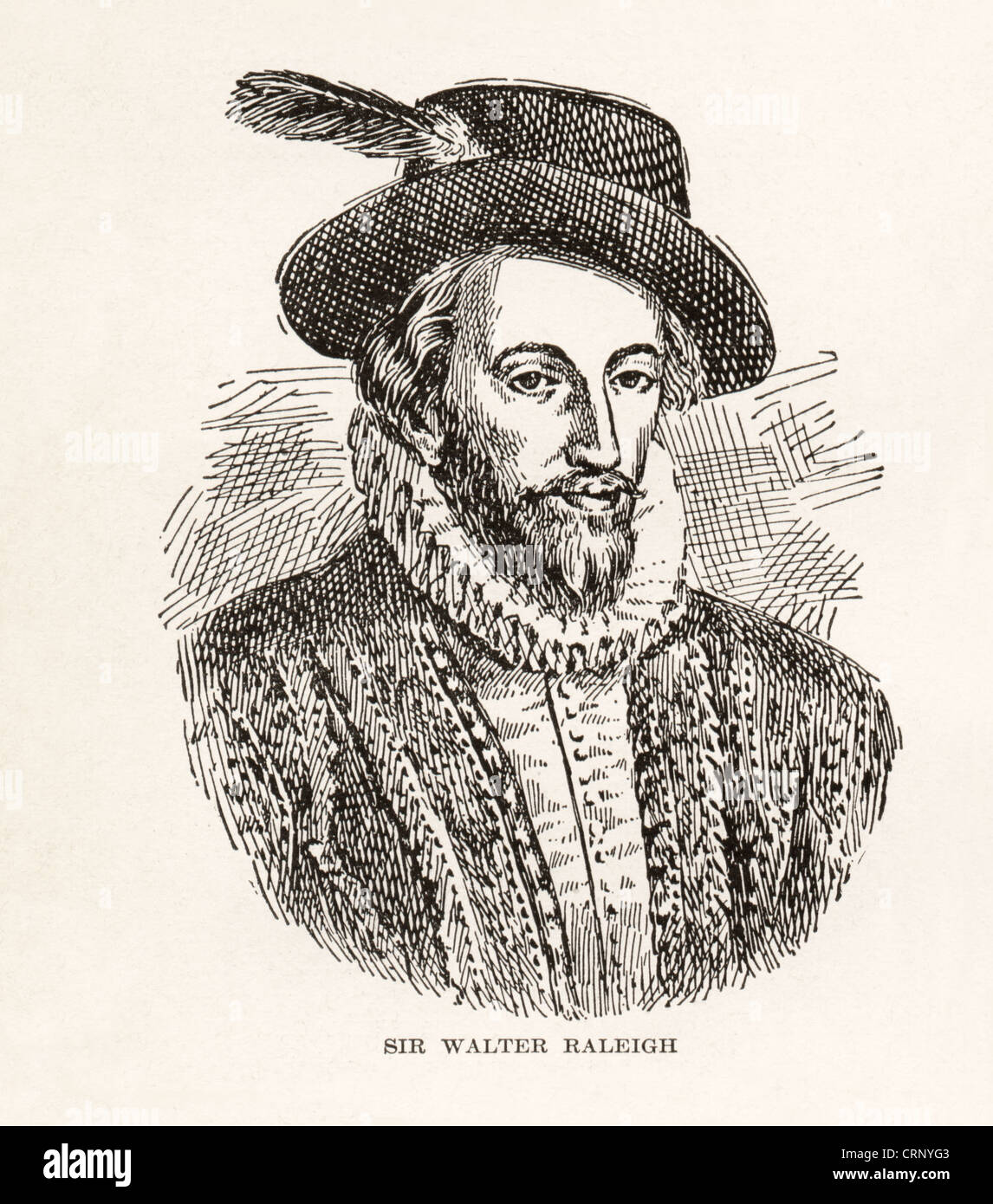Vintage engraving of Sir Walter Raleigh, English navigator, soldier, writer, 1552-1618, - Stock Image