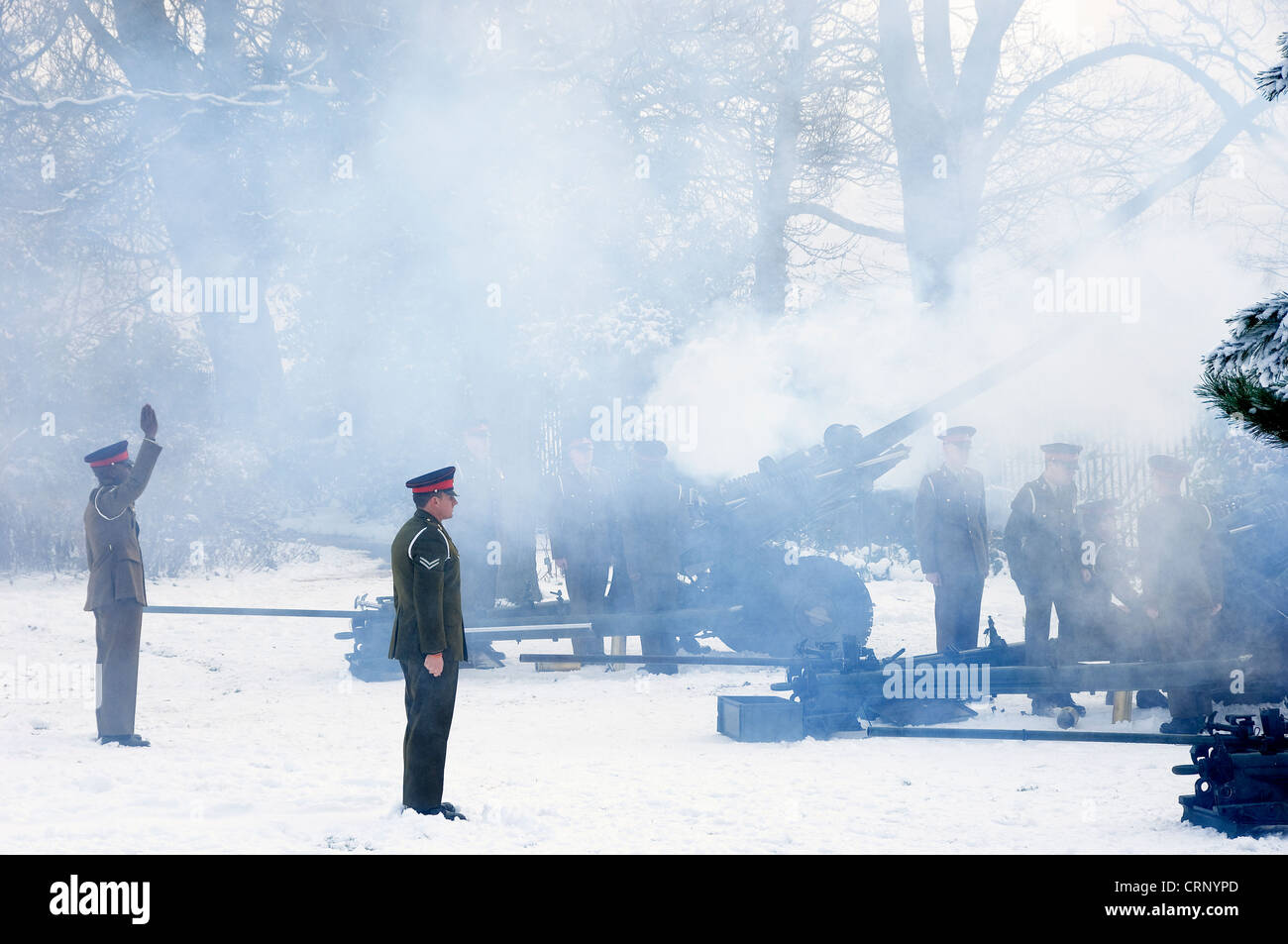 21 gun salute in Museum Gardens by 35 Battery 39 Regiment Royal Artillery to celebrate the Diamond Jubilee of Queen - Stock Image