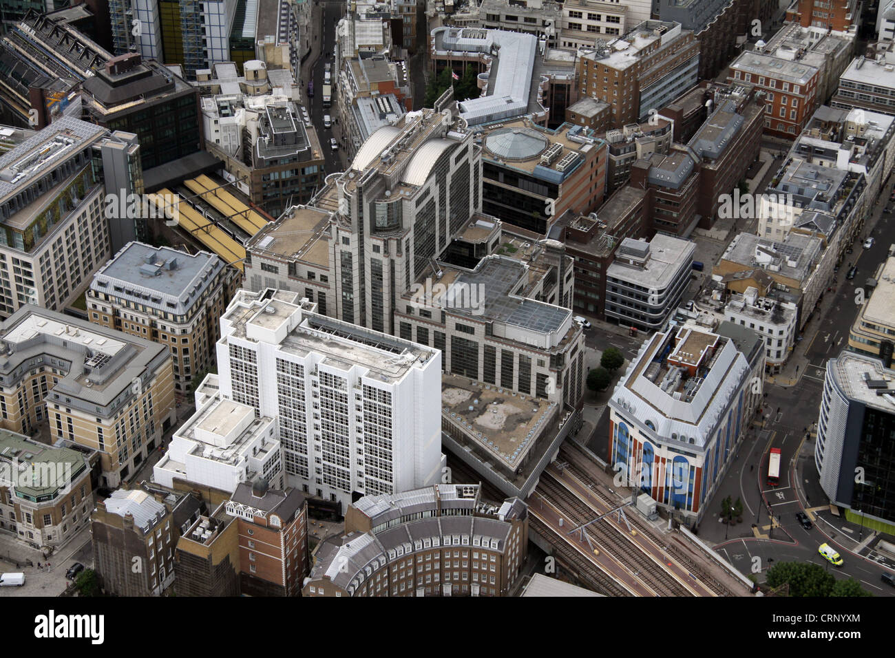 aerial view of approach to Fenchurch Street Station, with Cooper's Row and Vine Street, London EC3 - Stock Image