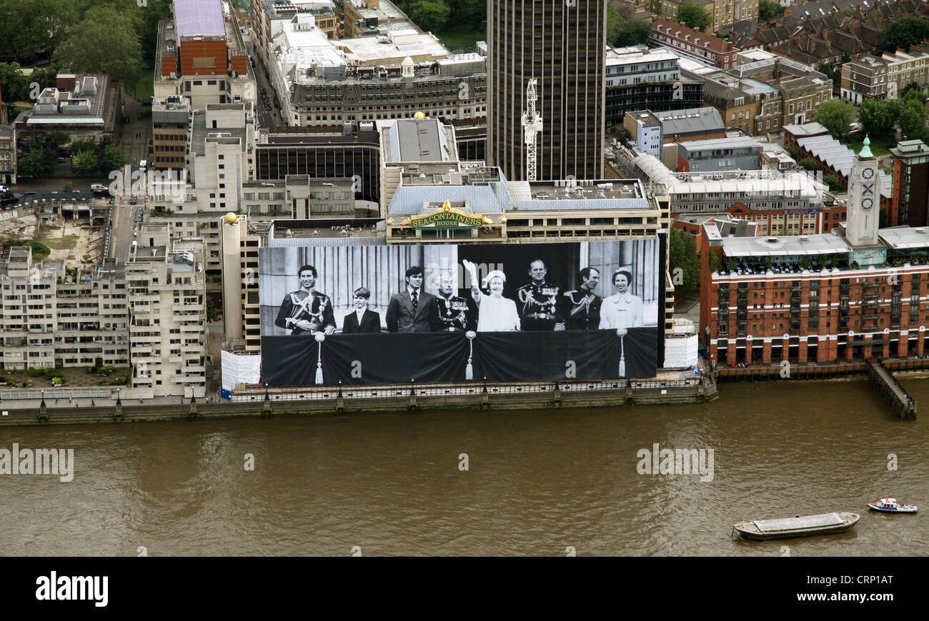 aerial view of giant Royal Family photograph poster from 1977 on the Sea Containers building on the River Thames, - Stock Image