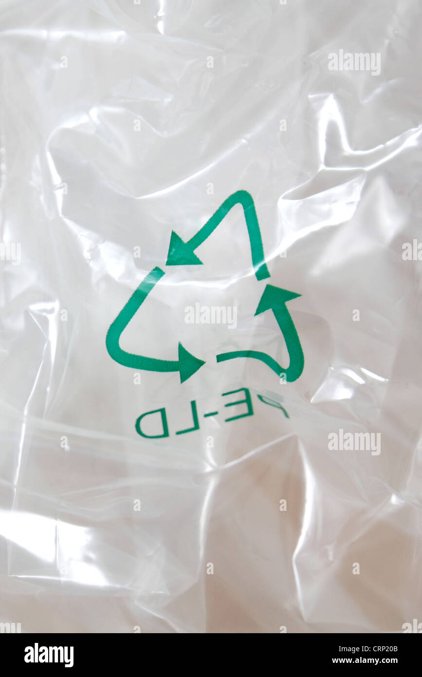 Plastic recycled with a recycling logo - Stock Image