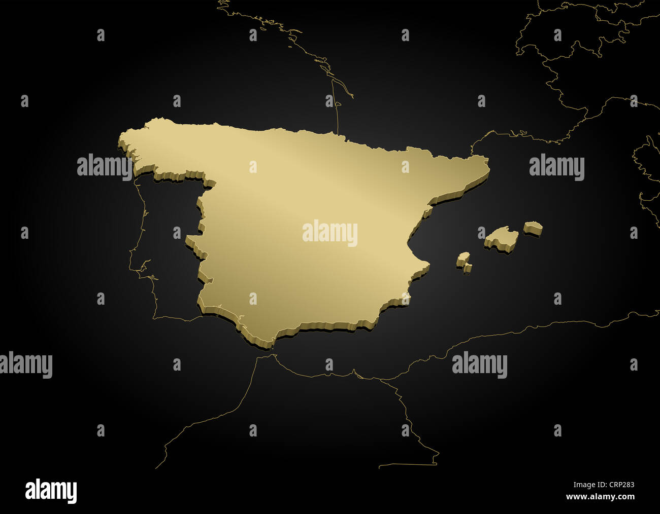 Political map of Spain with the several regions Stock Photo ...