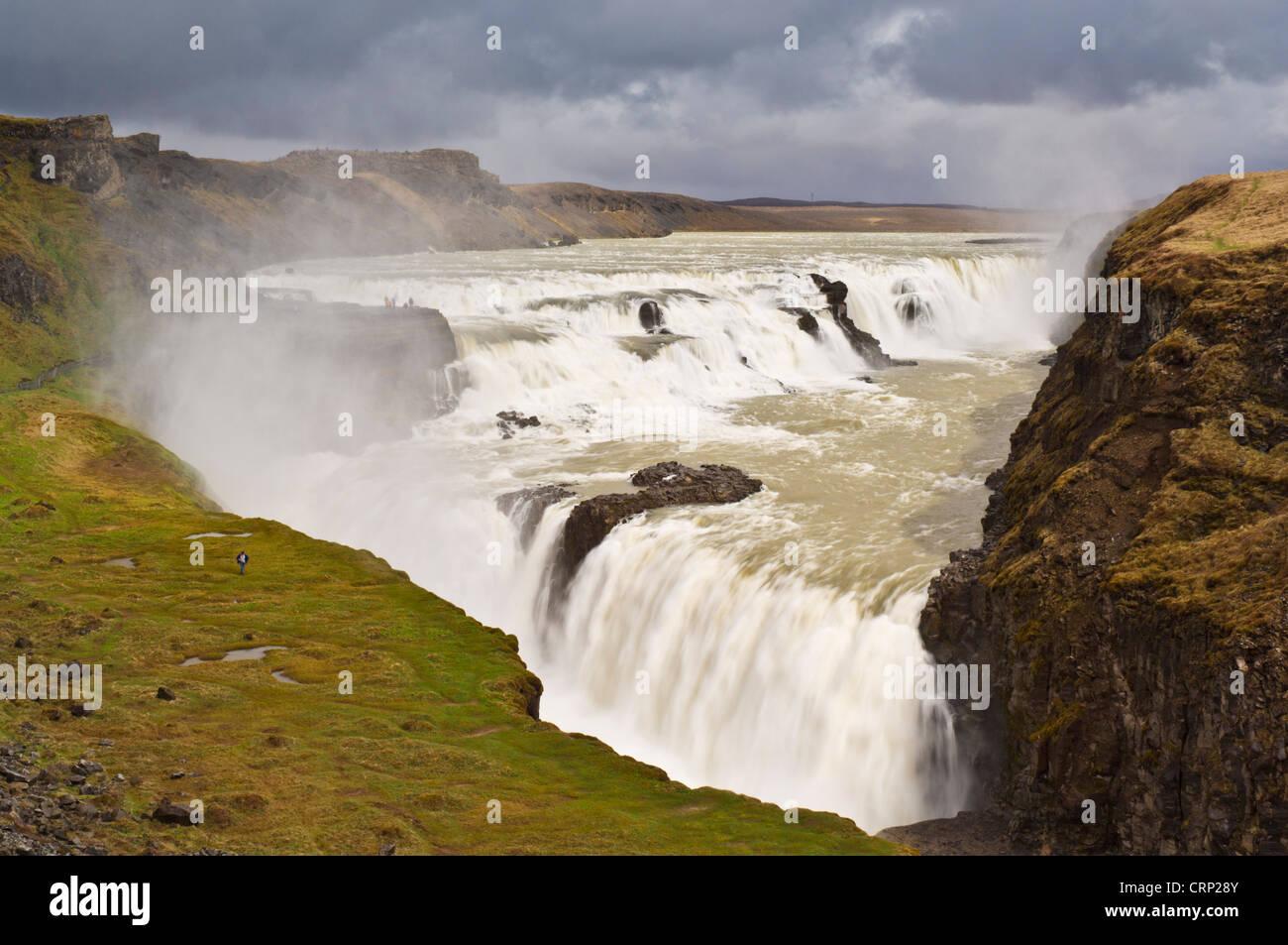 Gullfoss golden falls waterfall part of the golden circle tour Iceland EU Europe - Stock Image