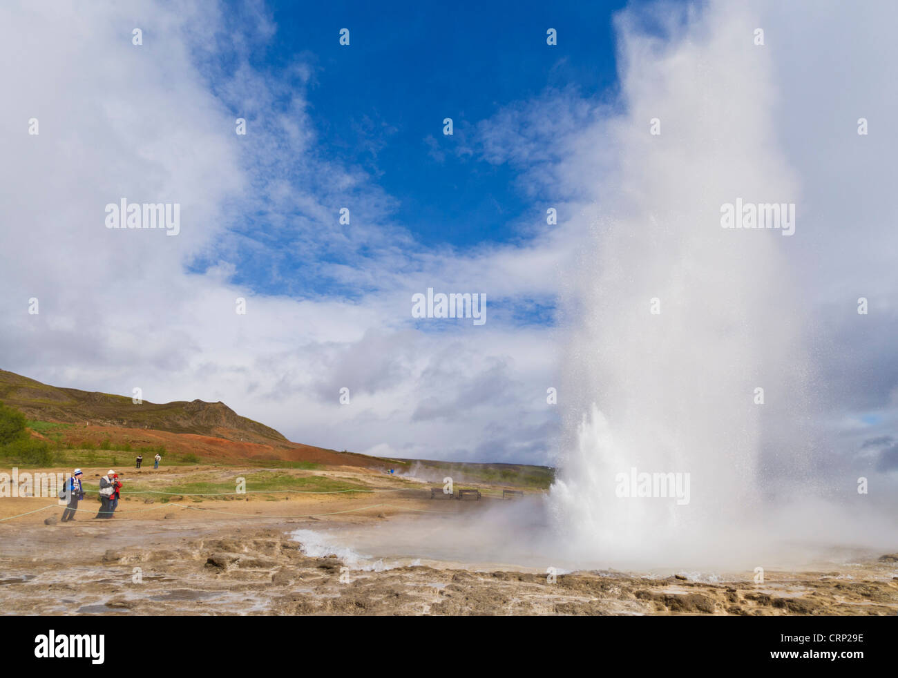 Strokkur Geyser geysur geysir erupting as part of the golden circle tour Iceland EU Europe - Stock Image