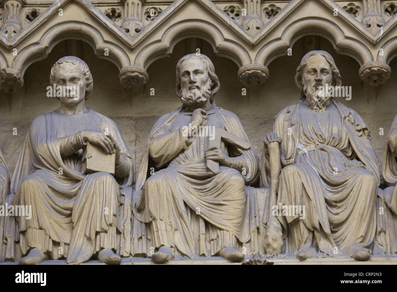 Westminster Abbey sculptures. London. England - Stock Image