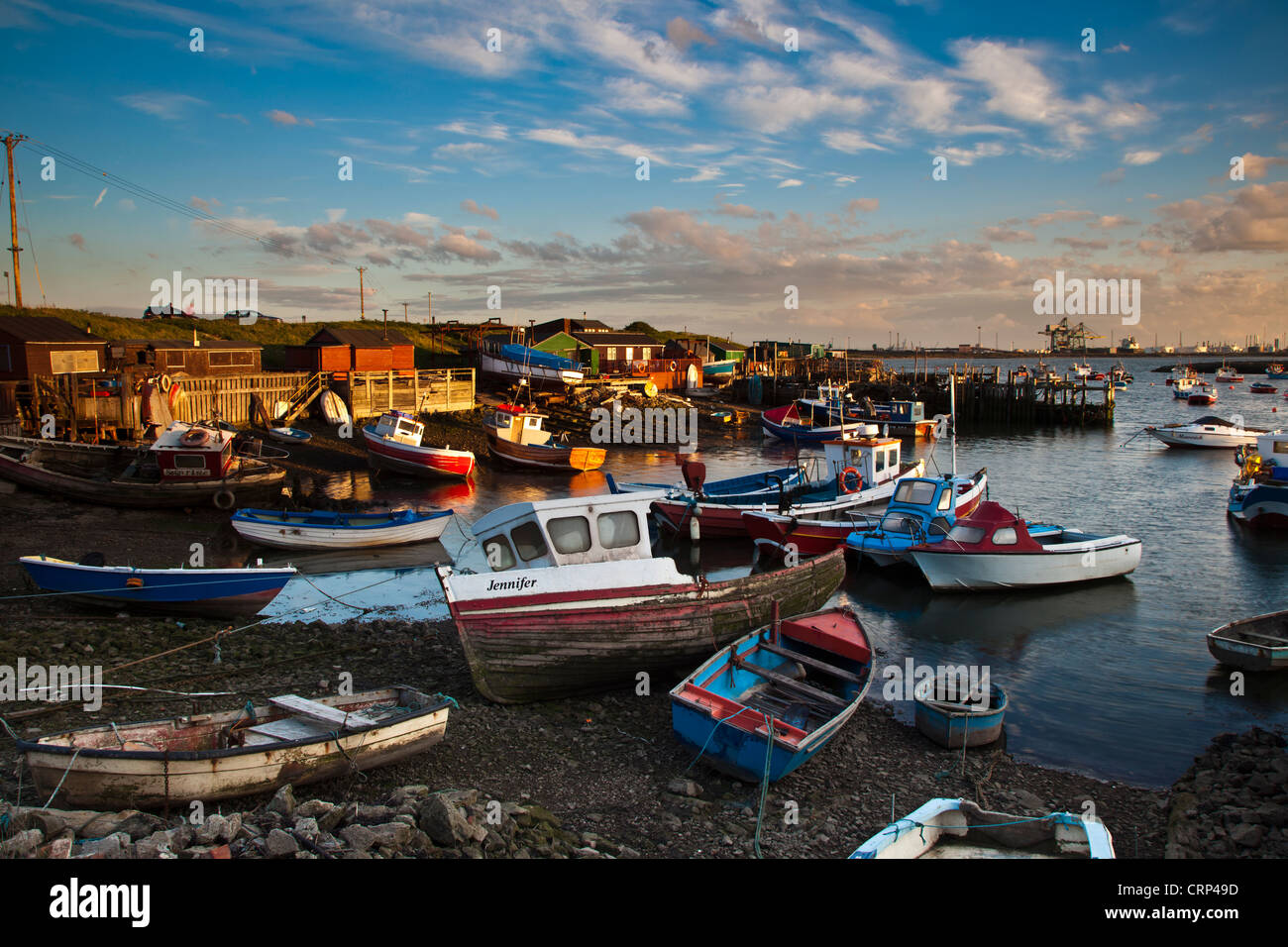 Paddys Hole, a safe mooring place for small fishing craft on the Tees Estuary. - Stock Image