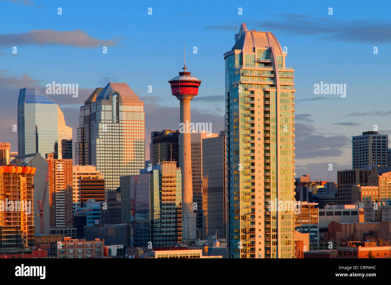 Downtown skyline at dawn, Calgary, Alberta, Canada - Stock Image