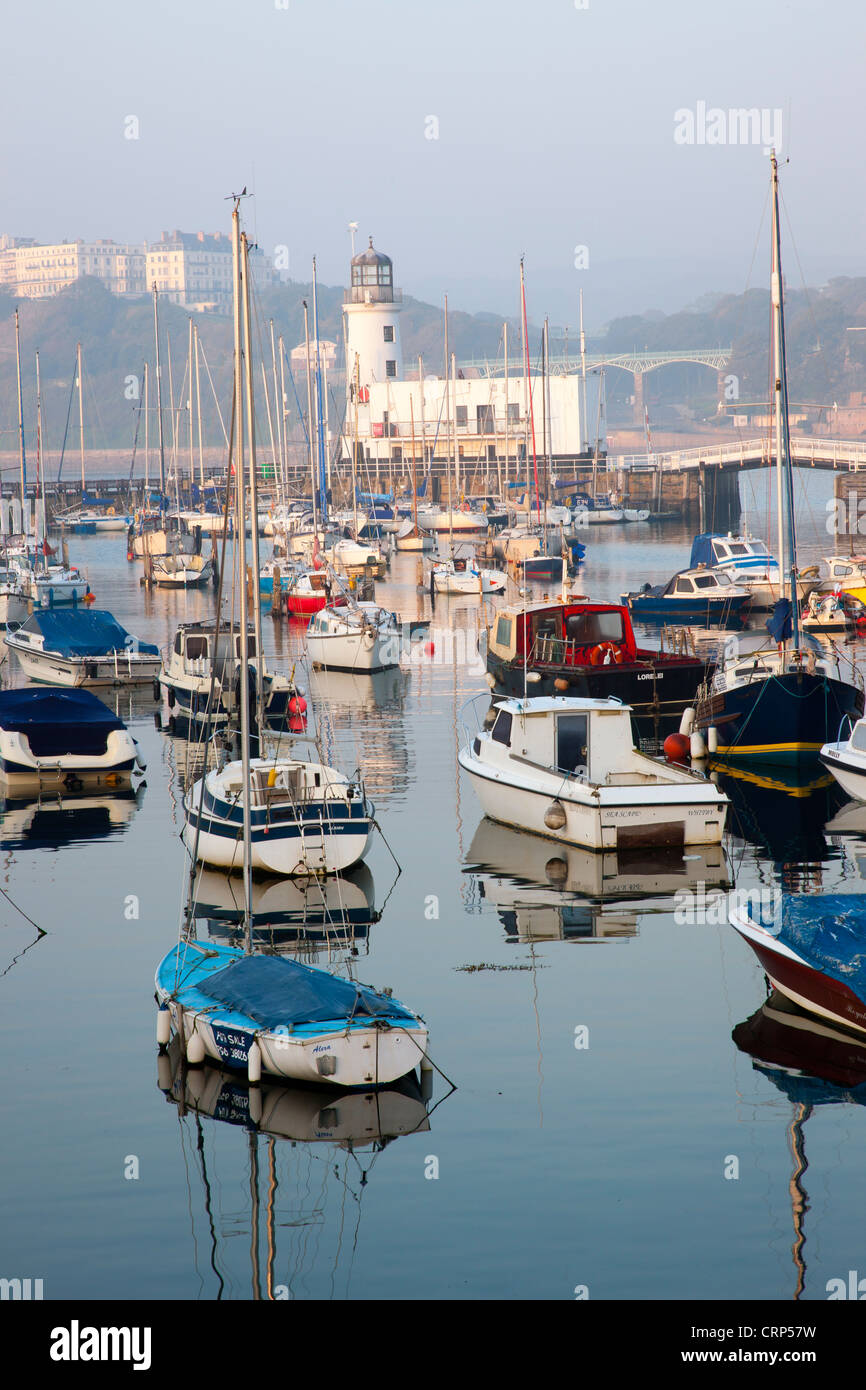 Boats moored in the Inner Harbour at Scarborough. - Stock Image