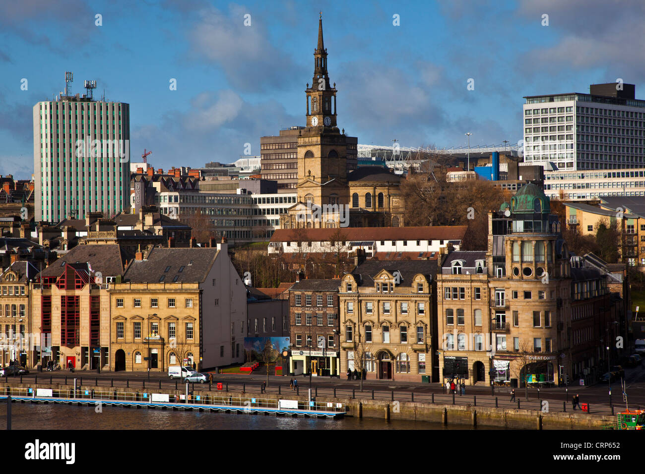 Newcastle Quayside on the north bank of the River Tyne. - Stock Image