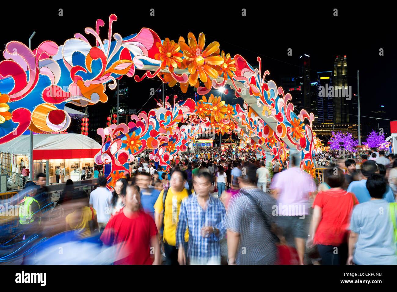 River Hongbao decorations for Chinese New Year celebrations at Marina Bay, Singapore - Stock Image