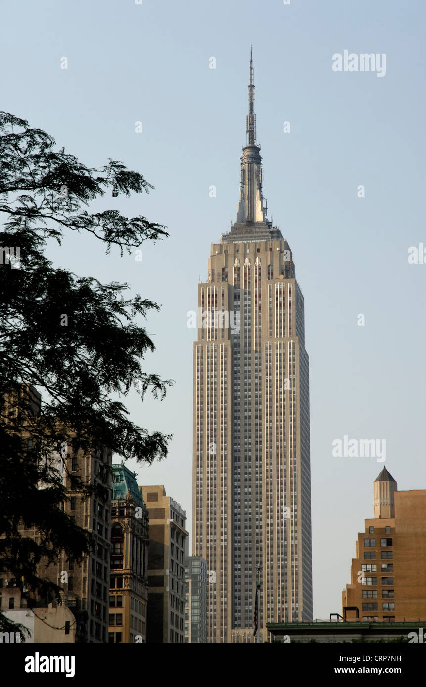 Empire State building, view from south, New York city - Stock Image
