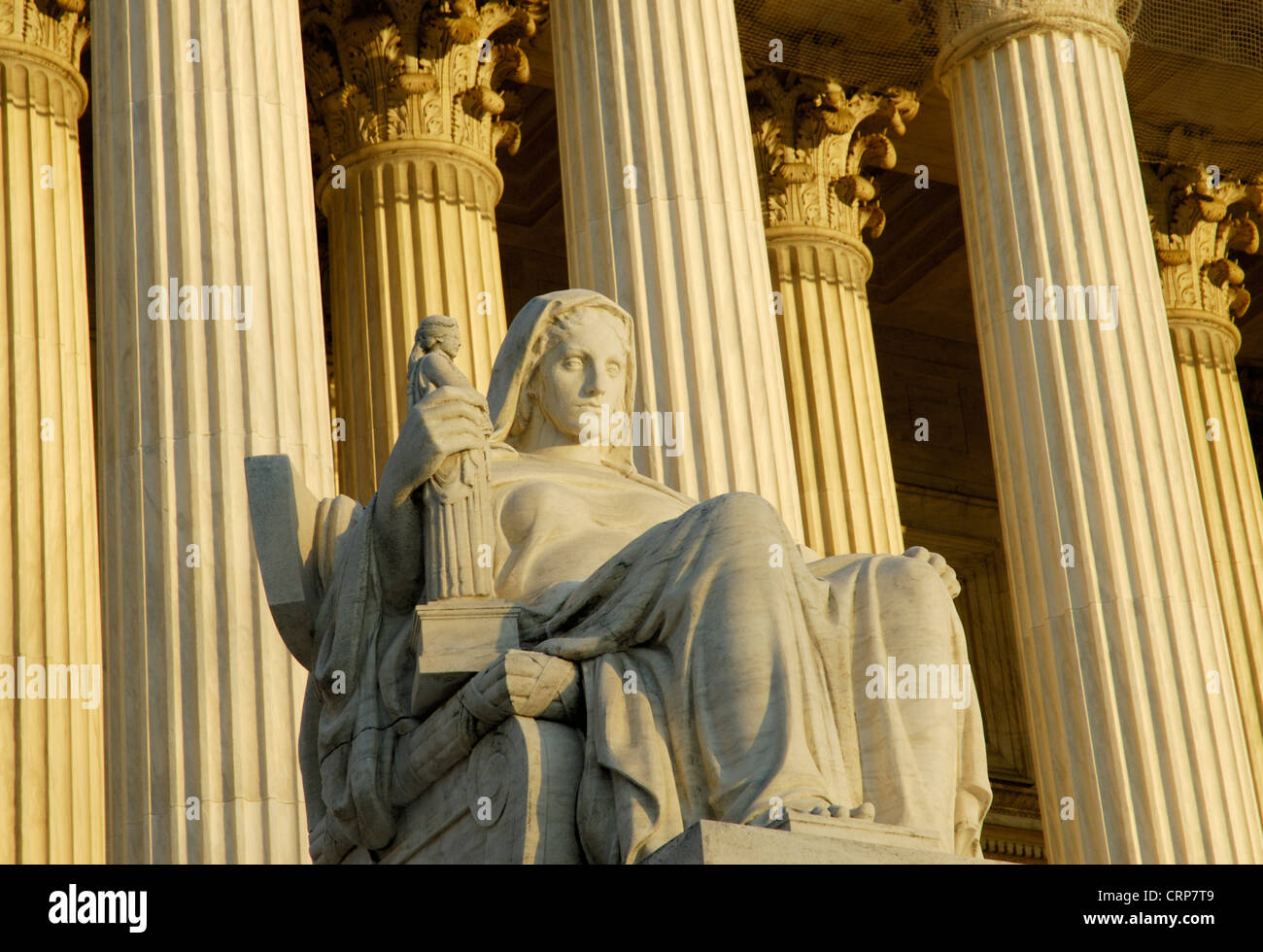 United States Supreme Court building with Contemplation of Justice statue - Stock Image
