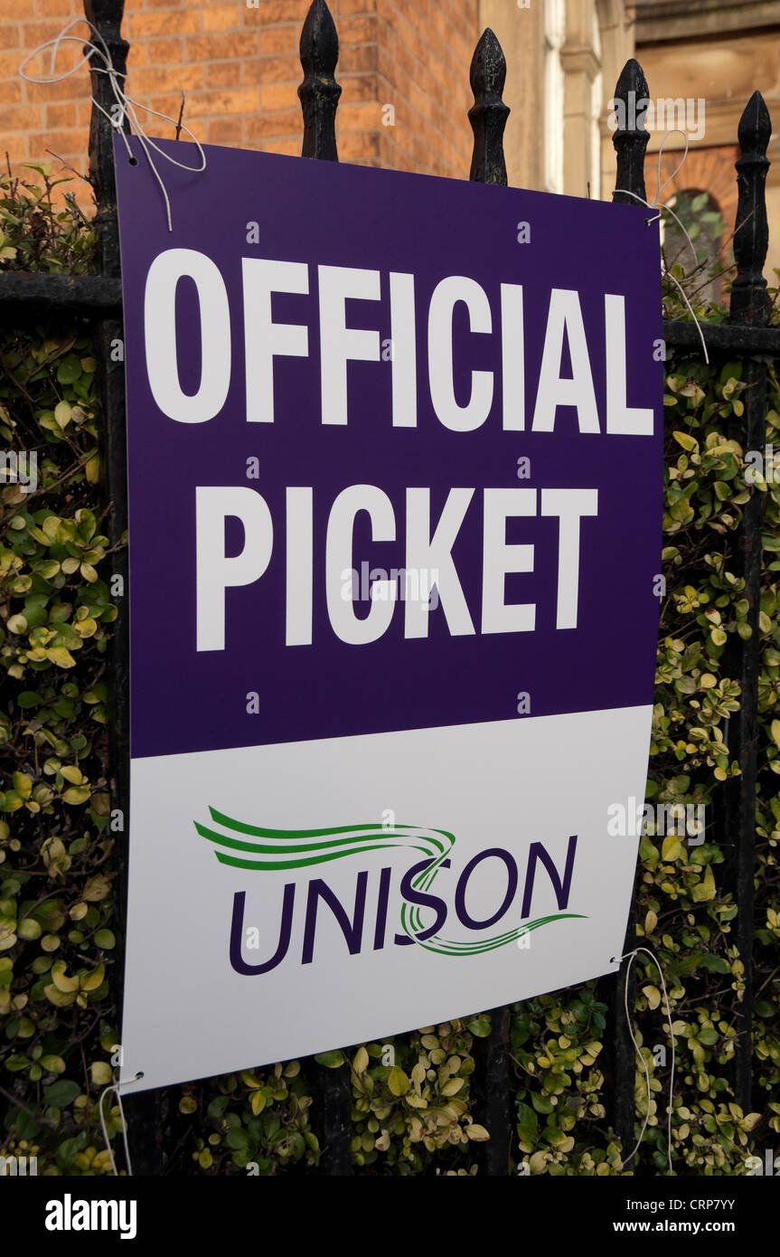 UNISON trade union official picket banner tied to railings. - Stock Image