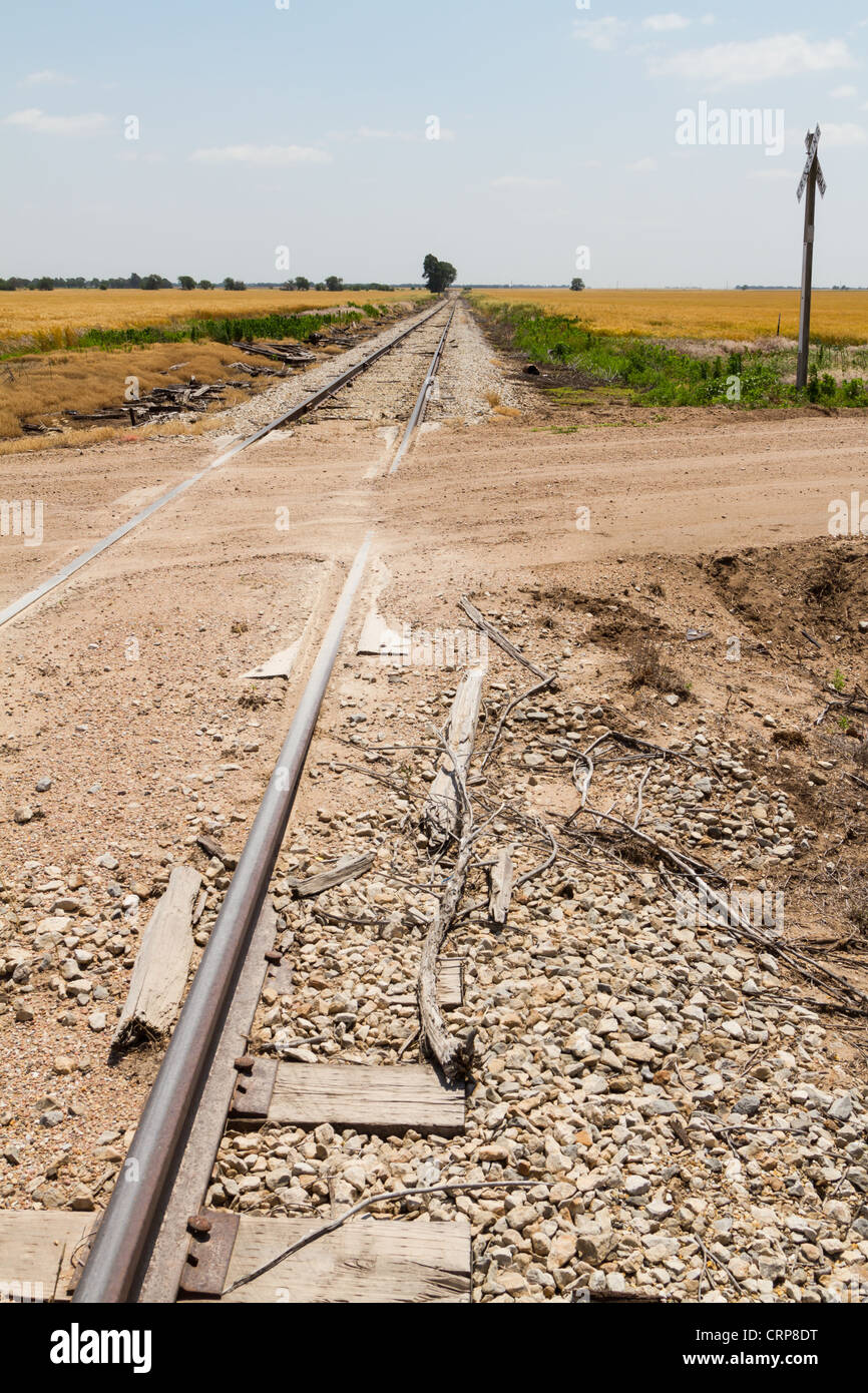 Rural Unprotected Railroad Crossing - Stock Image