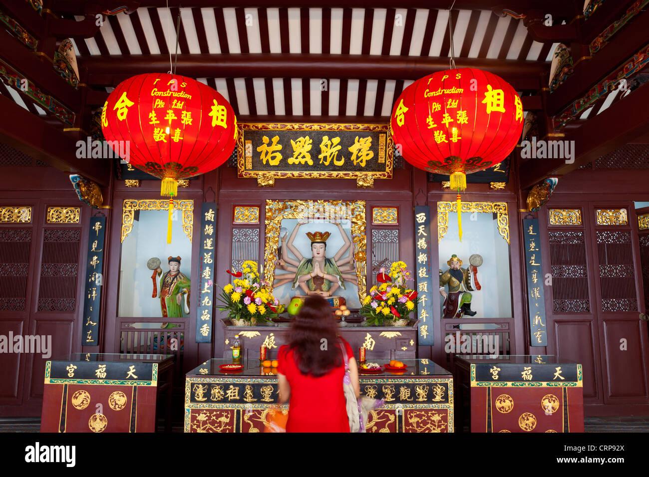 Interior of the Thian Hock Keng Chinese Hokkien Temple in Telok Ayer Street in Singapore - Stock Image