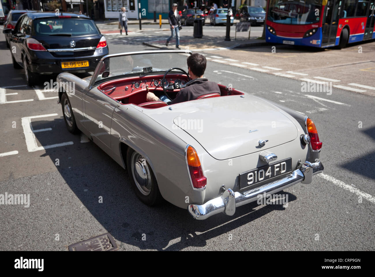 Rear view of an Austin Healey Sprite car, London, England, UK - Stock Image