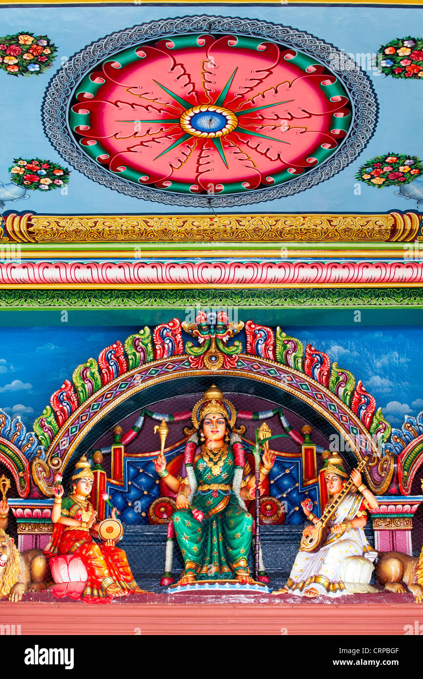 Detail inside the Sri Mariamman Temple in Singapore. - Stock Image