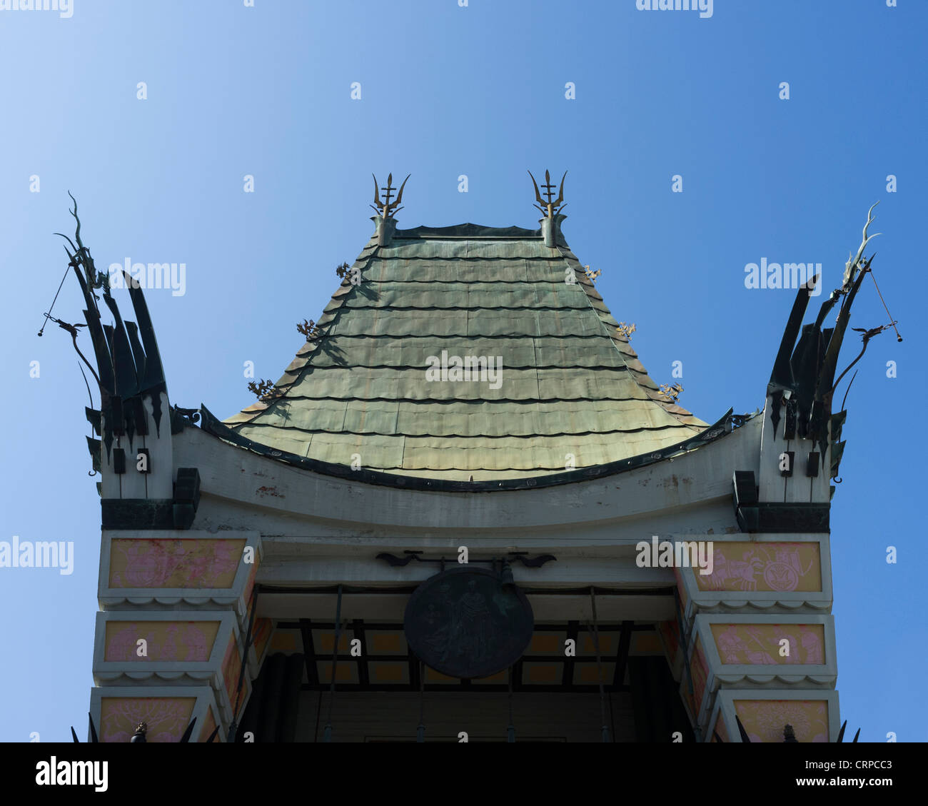 The roof of Grauman's Chinese Theatre, Hollywood Boulevard, Hollywood, Los Angeles, California, United States - Stock Image