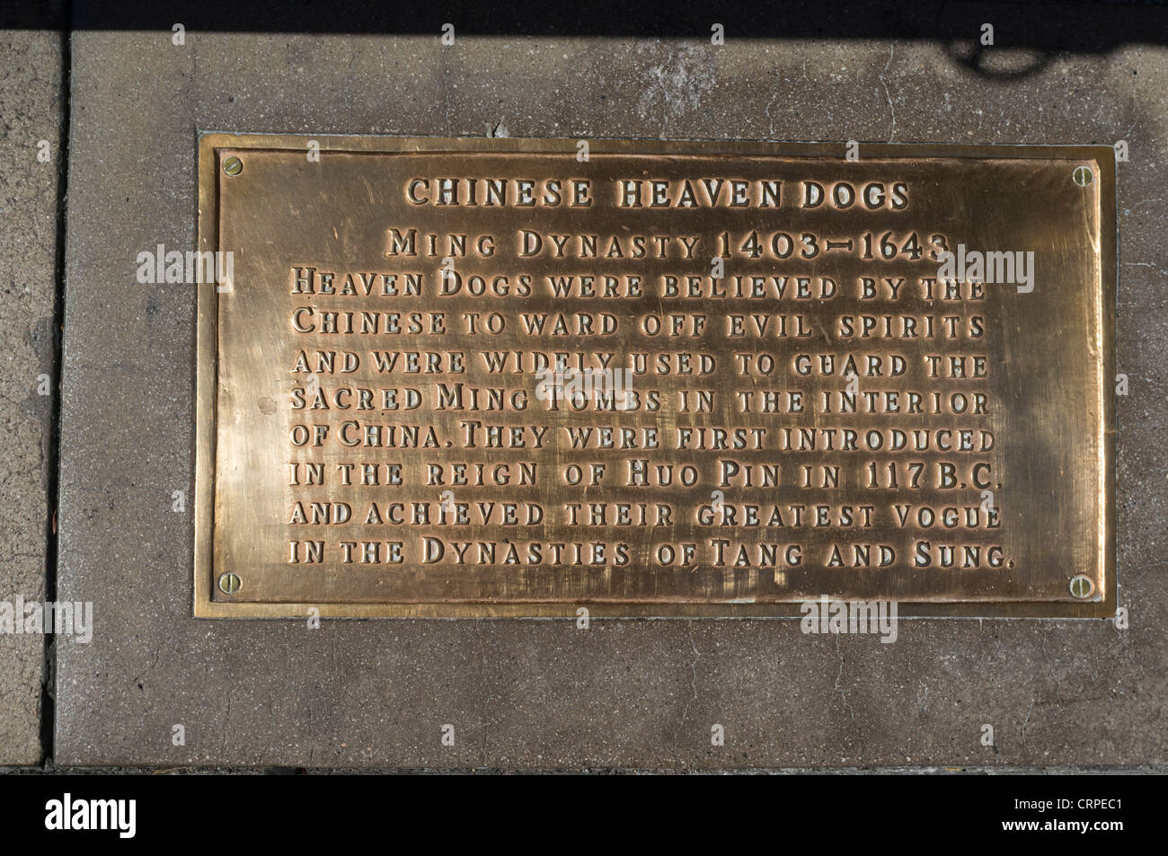 Chinese heaven dogs plaque outside grauman's chinese theater - Stock Image