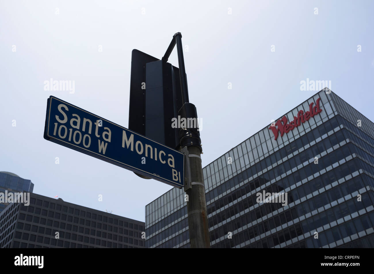 Westfield shopping centre overlooking Santa Monica Bl sign - Stock Image