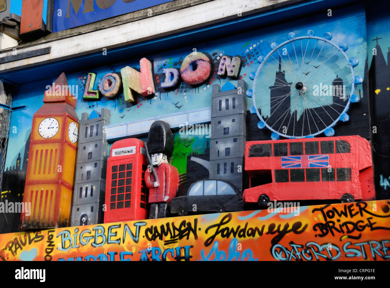 Collage formed from models of London tourist icons outside a shop. - Stock Image