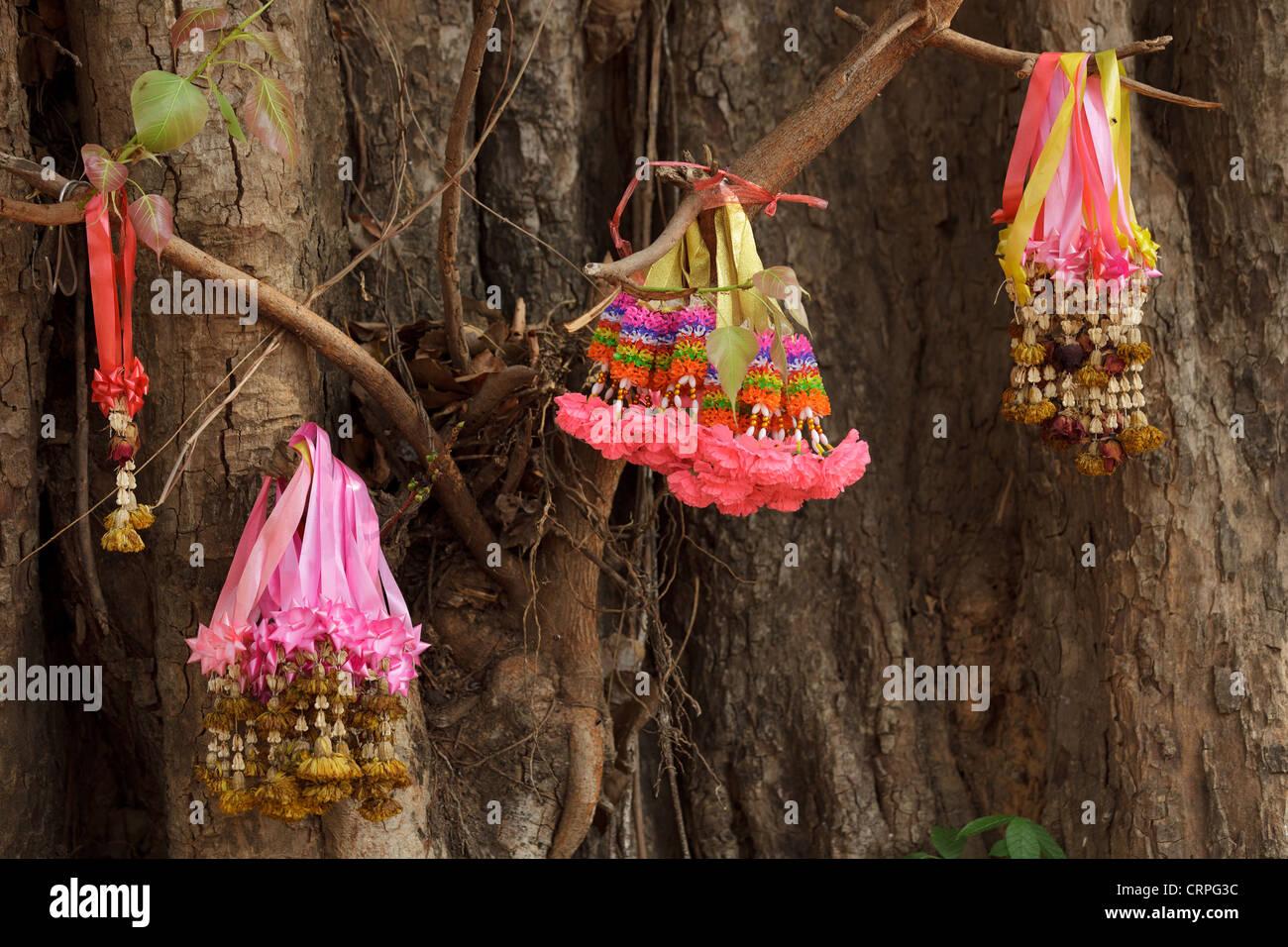 Religious Buddhist Symbols Hanging On Buddha Tree Thailand Stock