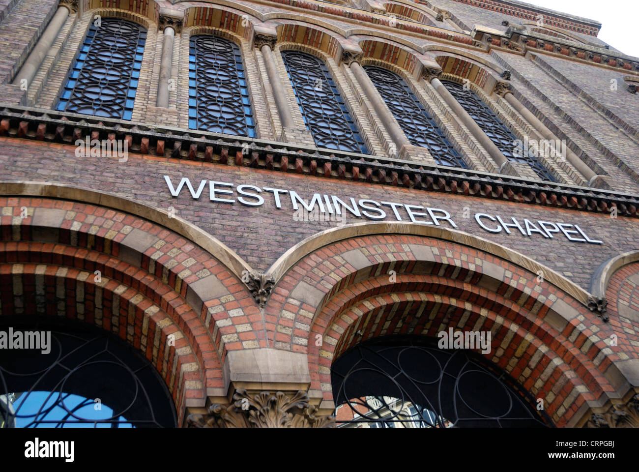 Westminster Chapel, an evangelical church opened in 1865 in Buckingham Gate. - Stock Image
