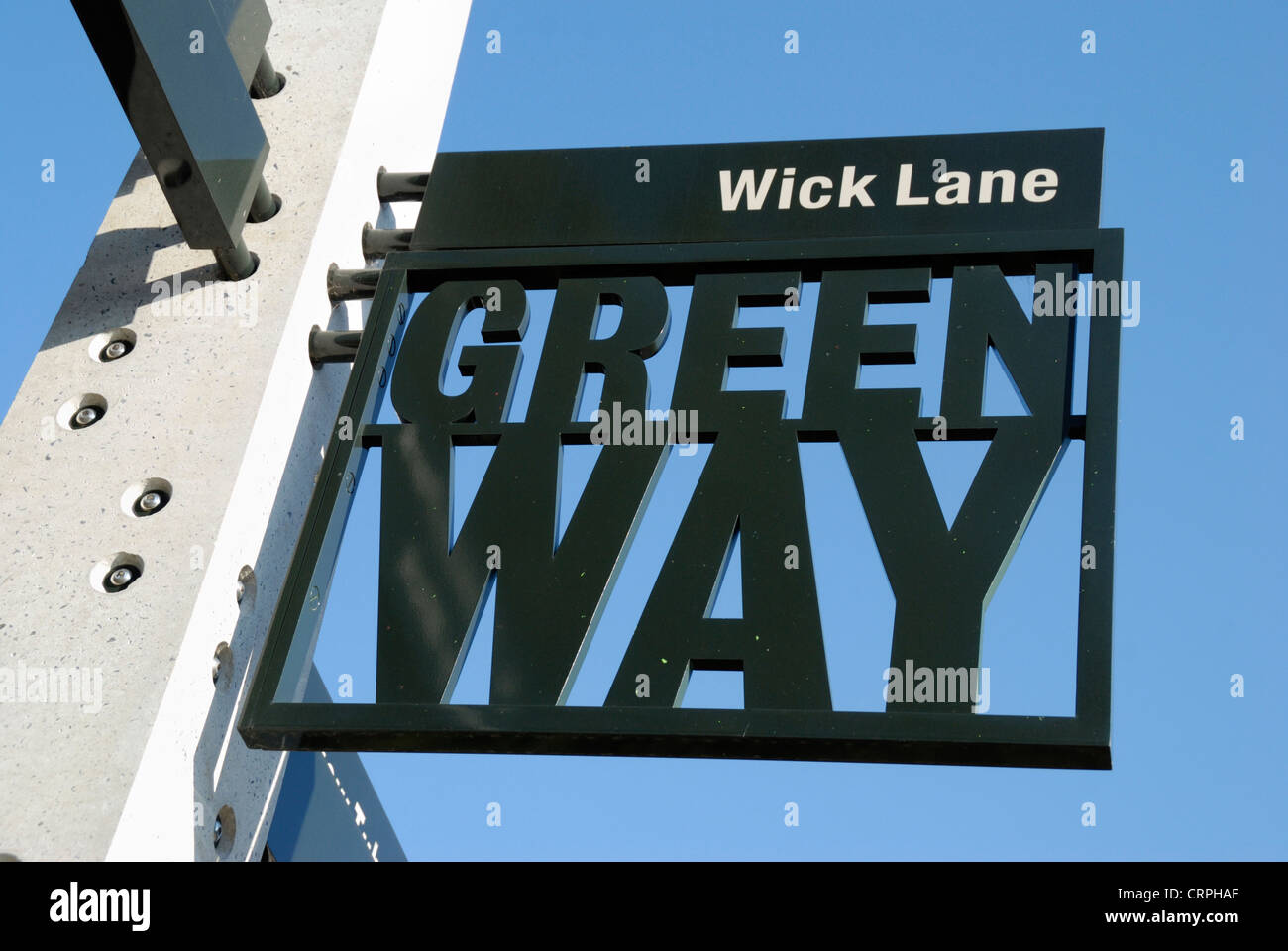 Greenway footpath and cycleway sign at Wick Lane in Bow. - Stock Image