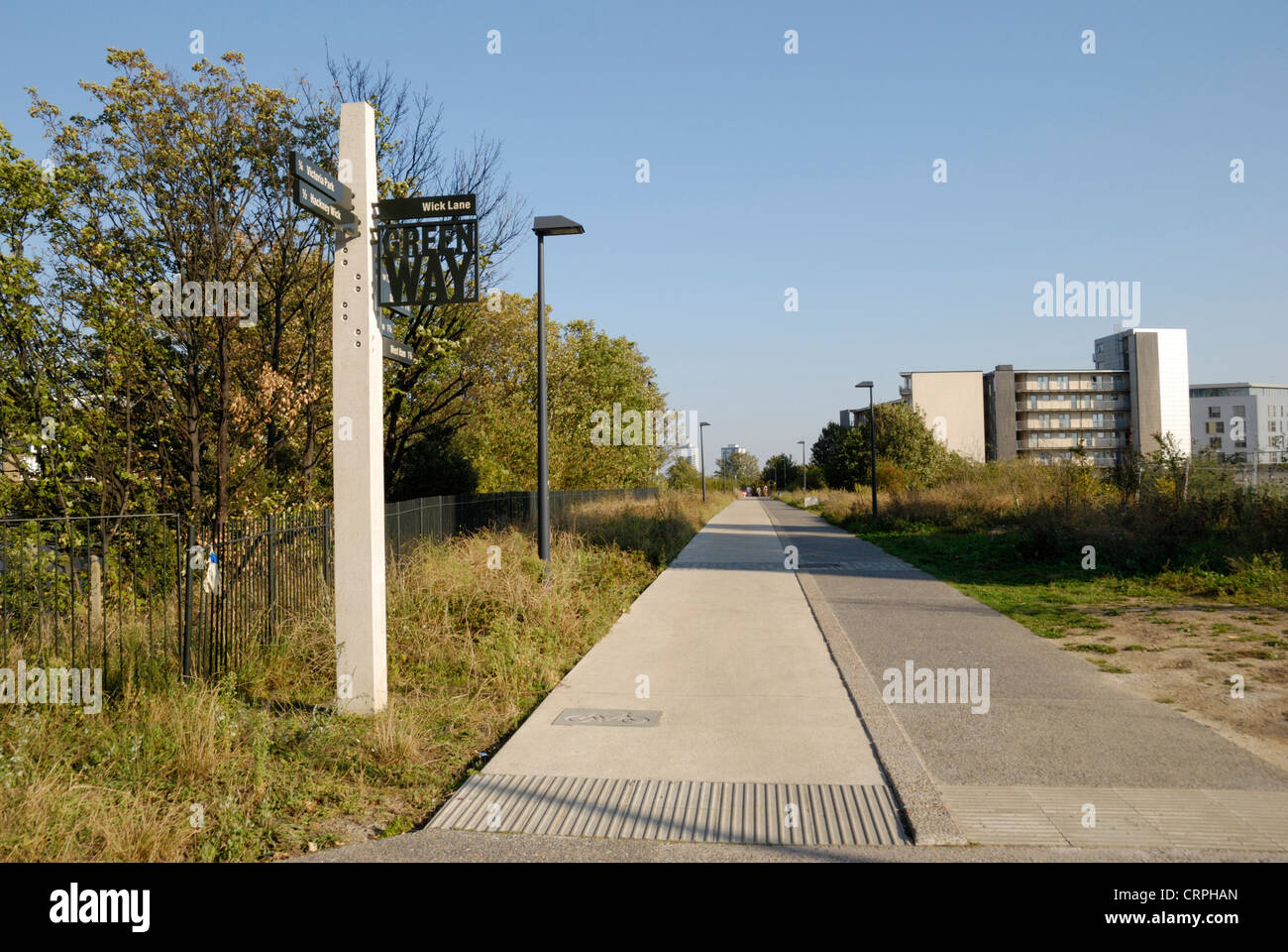Signpost on the Greenway, a footpath and cycleway in East London running between Wick Lane in Bow to Royal Docks - Stock Image