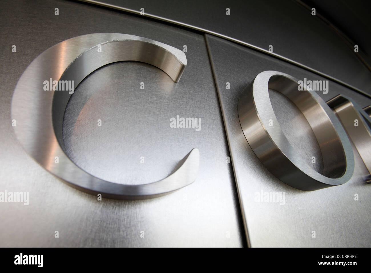 metallic metal letters wall - Stock Image