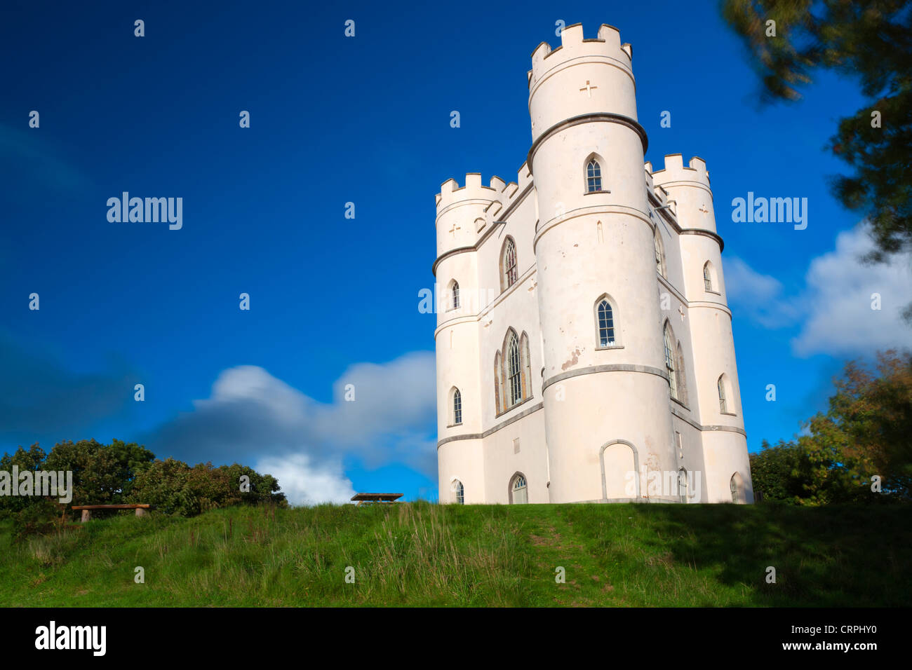 Haldon Belvedere, a Grade II listed triangular tower also known as Lawrence Castle, originally built in the late - Stock Image