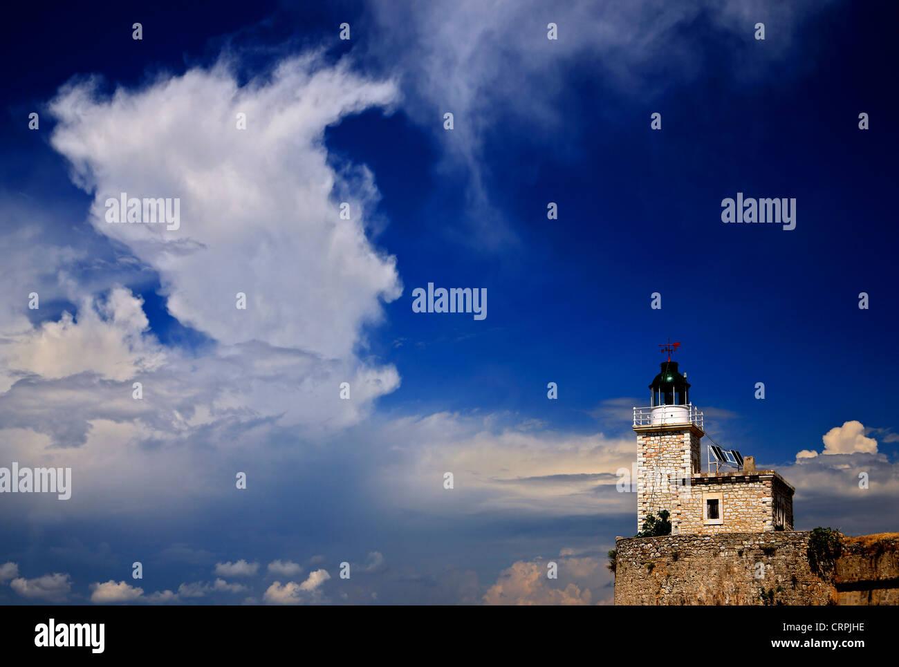 The lighthouse on the castle of Agia Mavra, Lefkada (or 'Lefkas') island, Ionian Sea, Eptanisa ('Seven - Stock Image