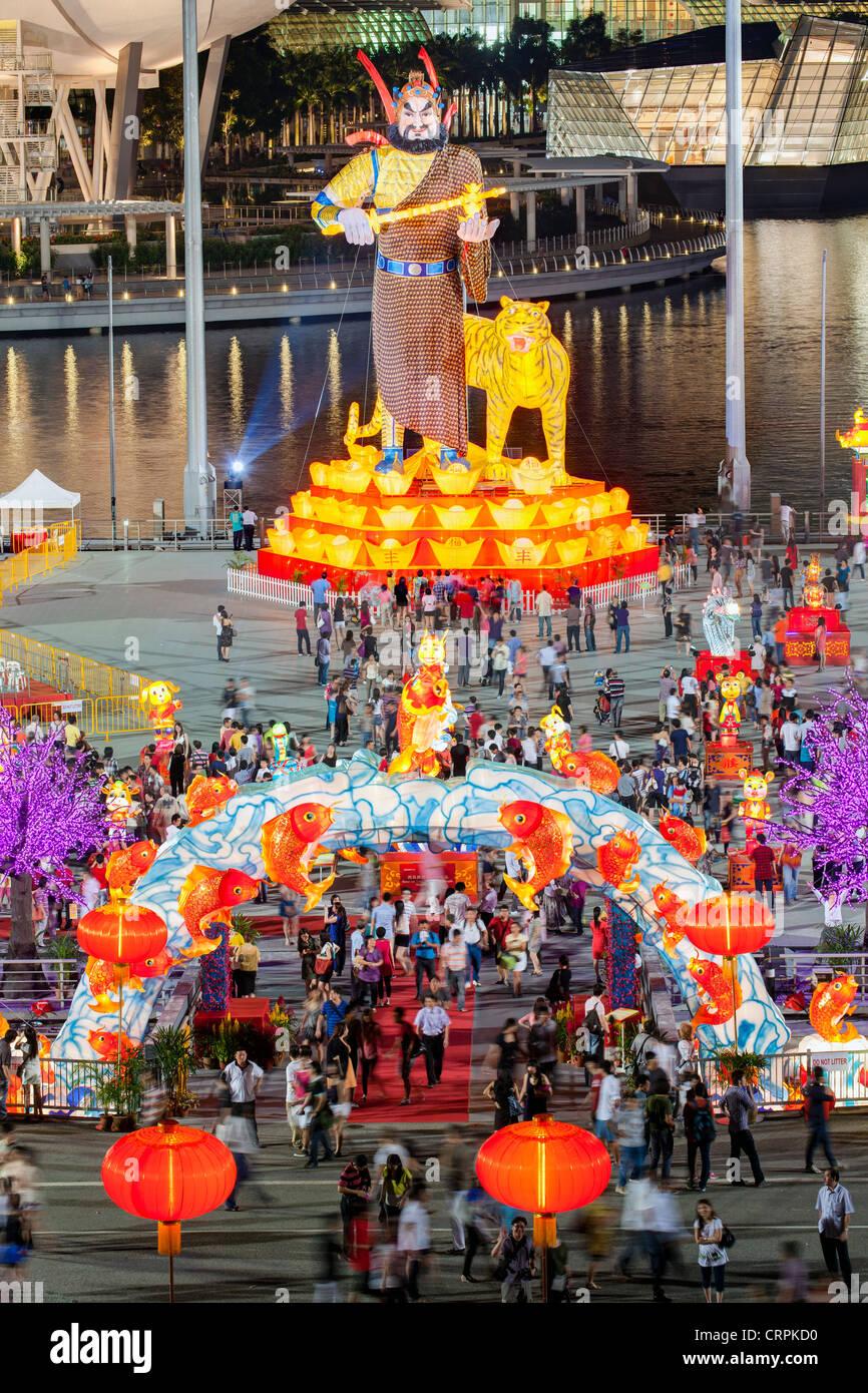 River Hongbao decorations for Chinese New Year celebrations at Marina Bay, Singapore Stock Photo