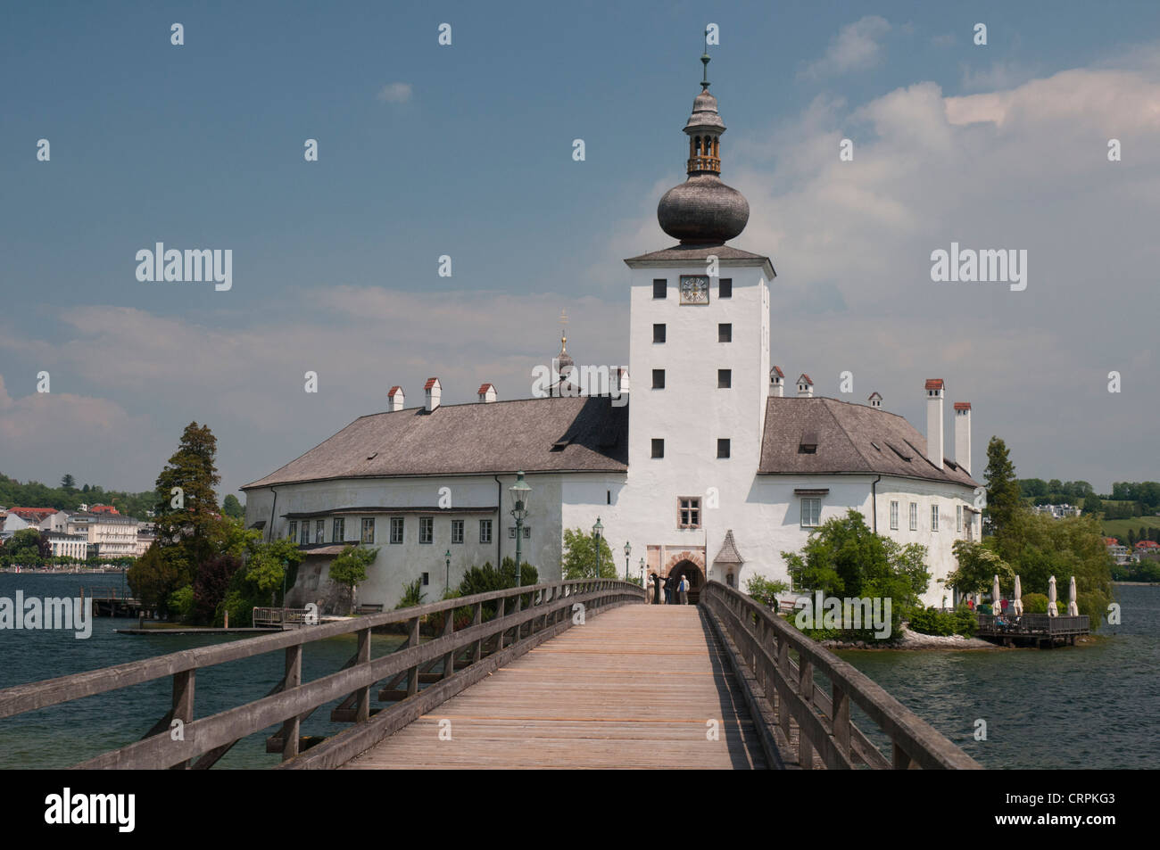 Schloss Ort, a castle set in the Traunsee (lake) at Gmünden in the Austrian Salzkammergut - Stock Image