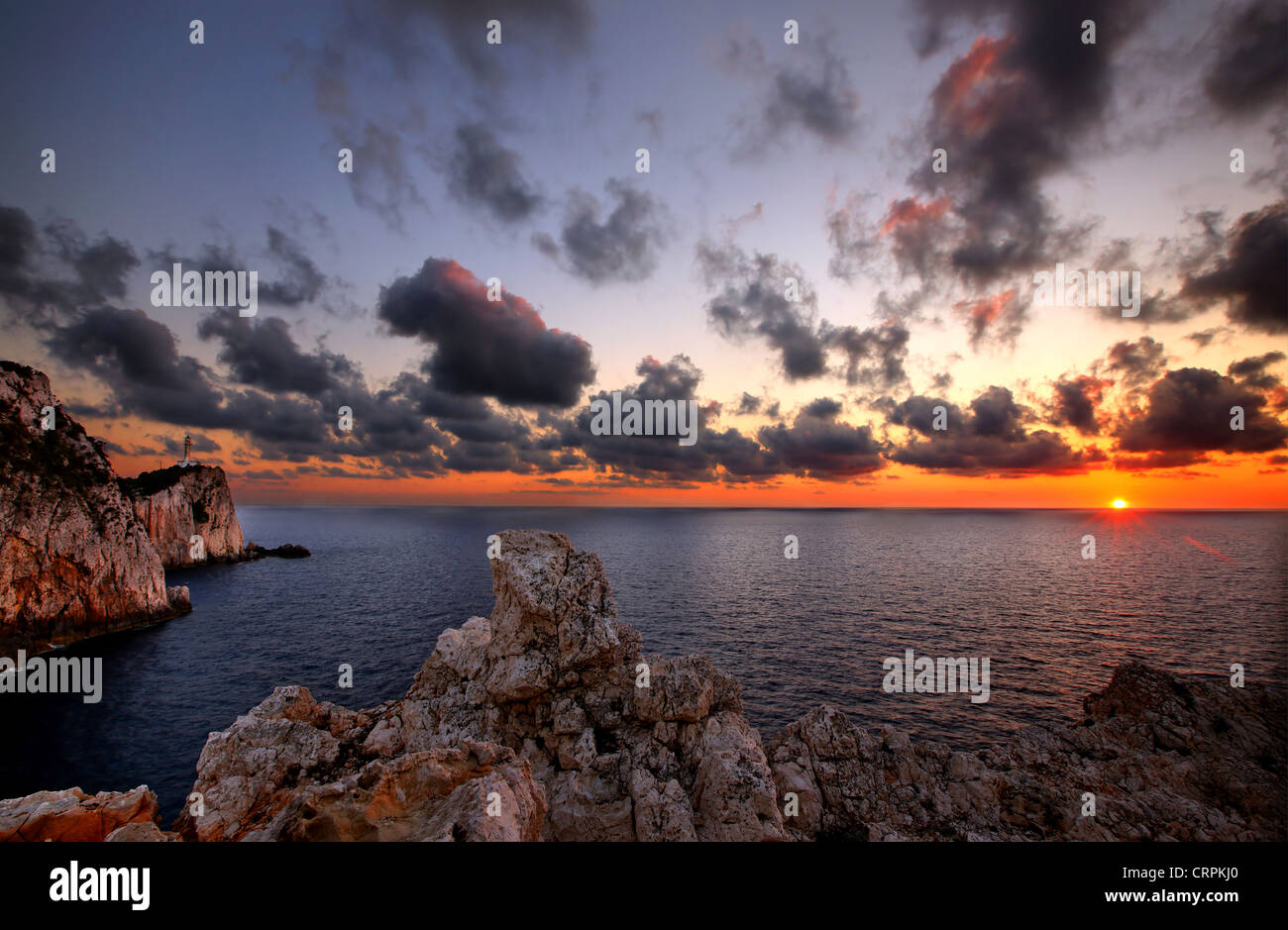 Sunset at Cape Lefkatas (also known as 'Cape Dukato' and 'Kavos tis Kyras'), Lefkada (or 'Lefkas') - Stock Image