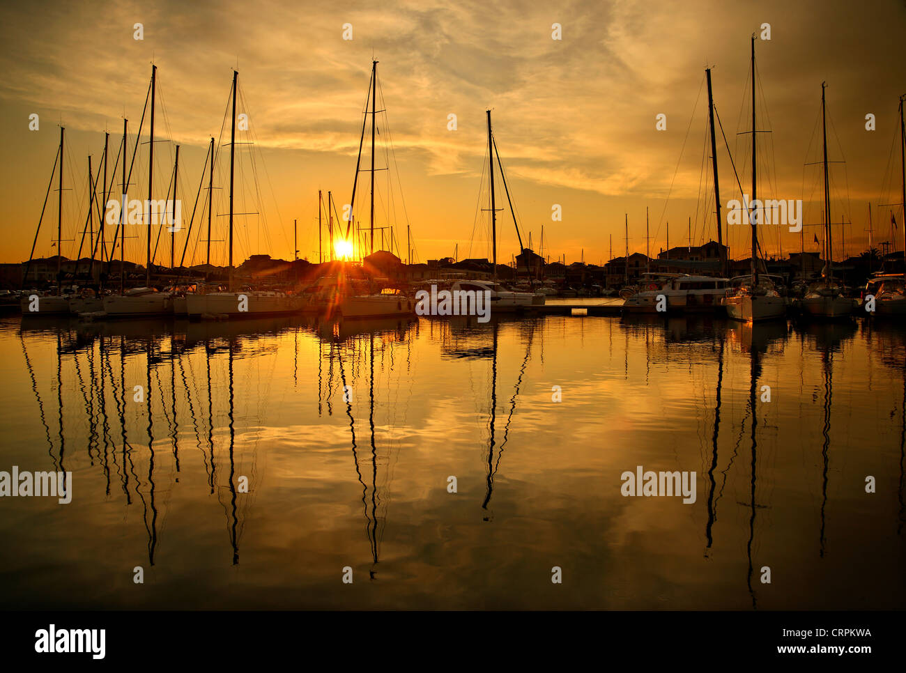 Sunset at the marina in Lefkada (or 'Lefkas') town, Lefkada island, Ionian Sea, Eptanisa ('Seven Islands'), - Stock Image