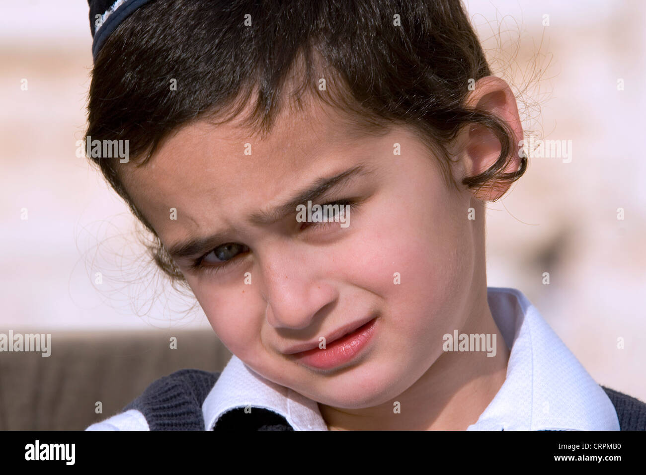 Hassidic Jew boy at the Old City's Western Wall, Jerusalem, Israel - Stock Image