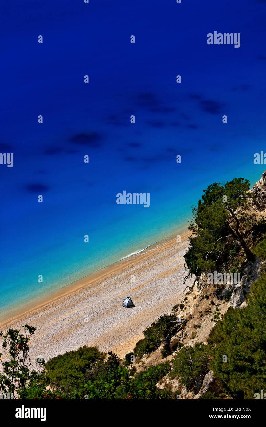 World famous Egremni beach, Lefkada (or 'Lefkas') island, Ionian Sea, Eptanisa ('Seven Islands'), - Stock Image