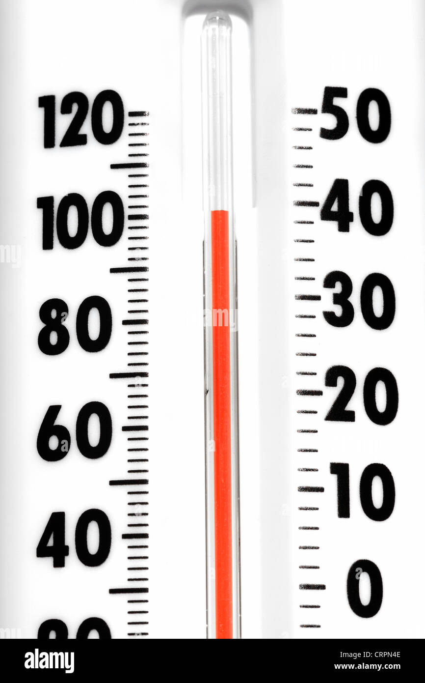 A Thermometer registering 100 degrees Farenheit - Stock Image