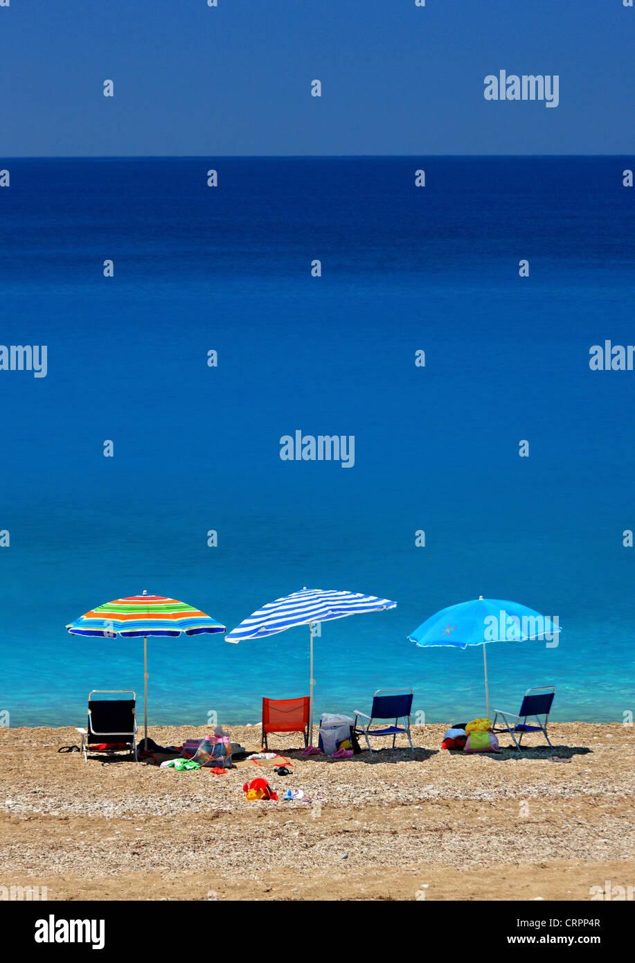 Kathisma beach, on the west side of Lefkada (or 'Lefkas') island, Ionian Sea, Eptanisa ('Seven Islands'), - Stock Image