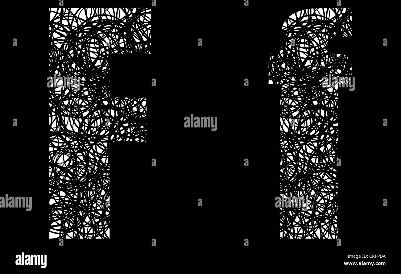 Abstract Black And White Font Letter F Stock Photo 49058390 Alamy
